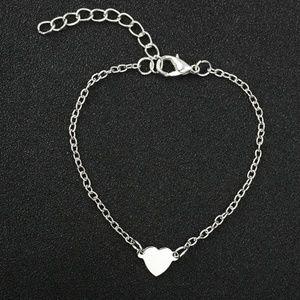 Delicate Dainty Heart Charm Silver Tone Bracelet ~